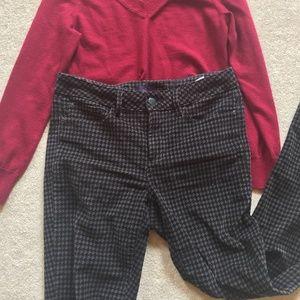 NYDJ Houndstooth Grey Corduroy Pants Wear to Work